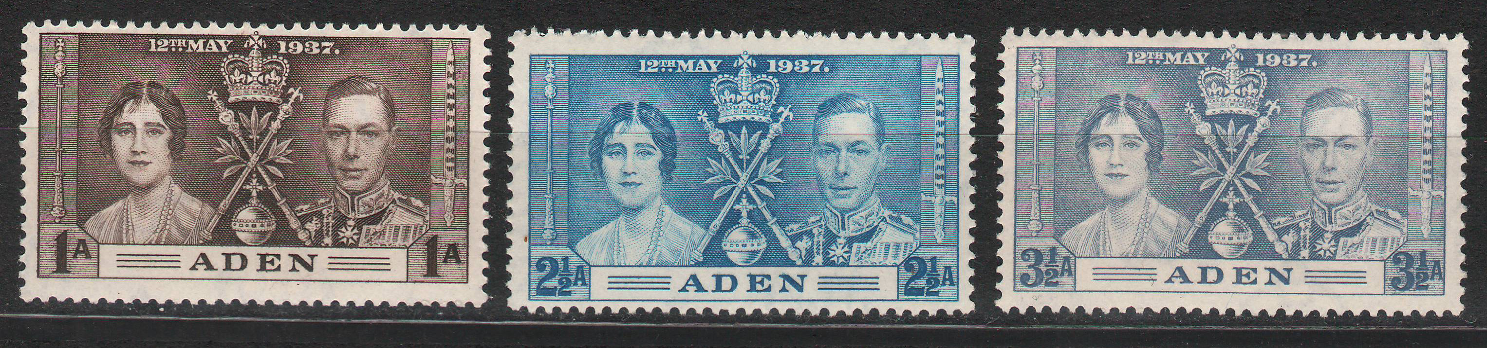 Aden - 1937 - Coronation MH * complete set of 3