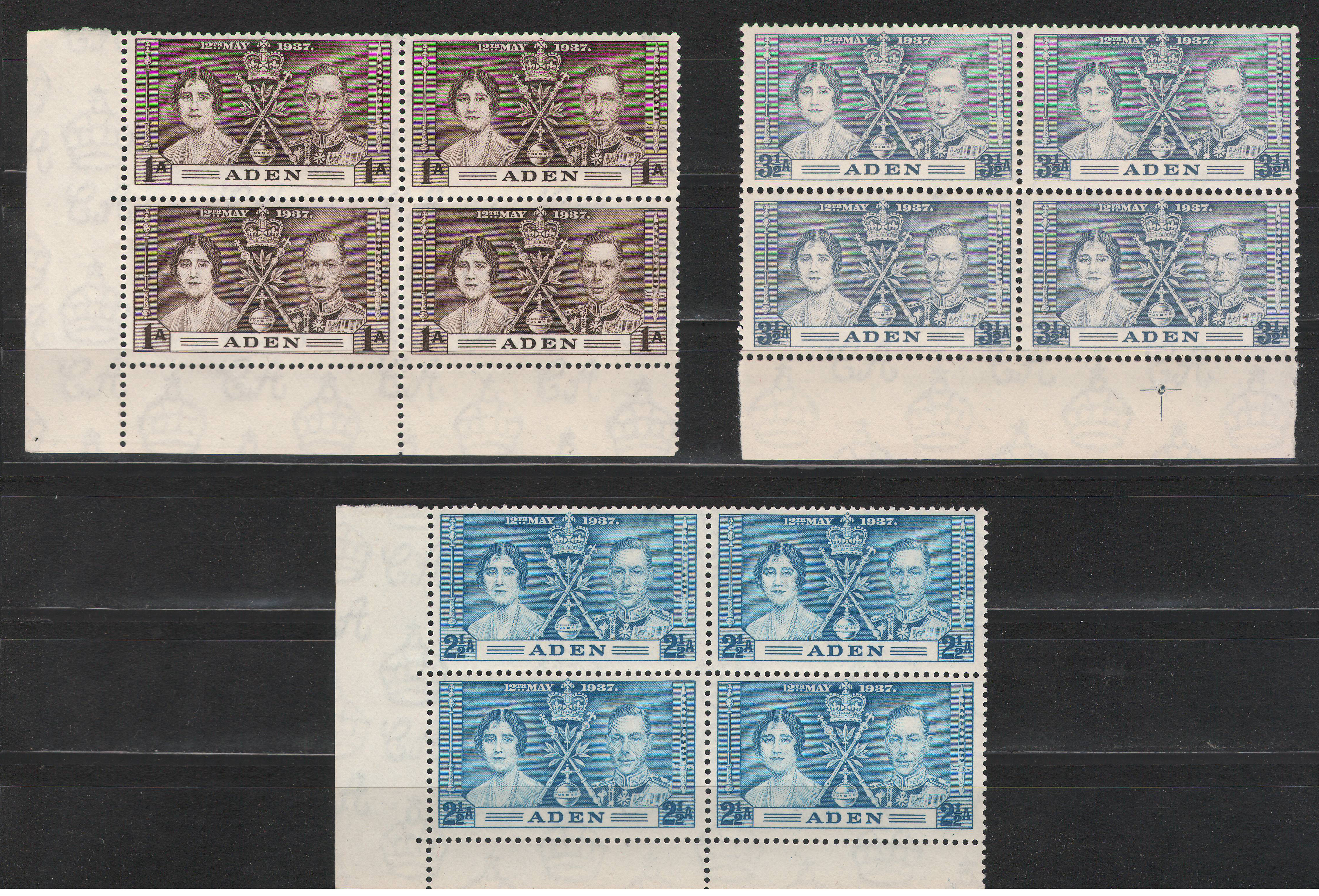 Aden - 1937 - Coronation MNH ** complete set of 3 x4 MARGIN BLOCKS