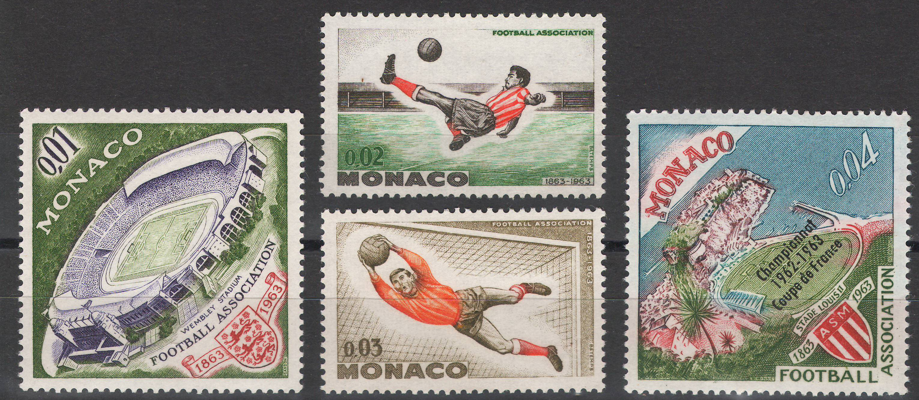 Monaco - 1963 - Football - MNH but 0,04 is MLH