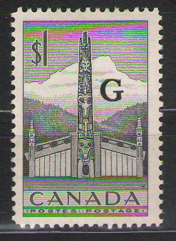 Canada - 1952-1953 - $1 - Indian House & Totem Pole overprinted G Official - MH
