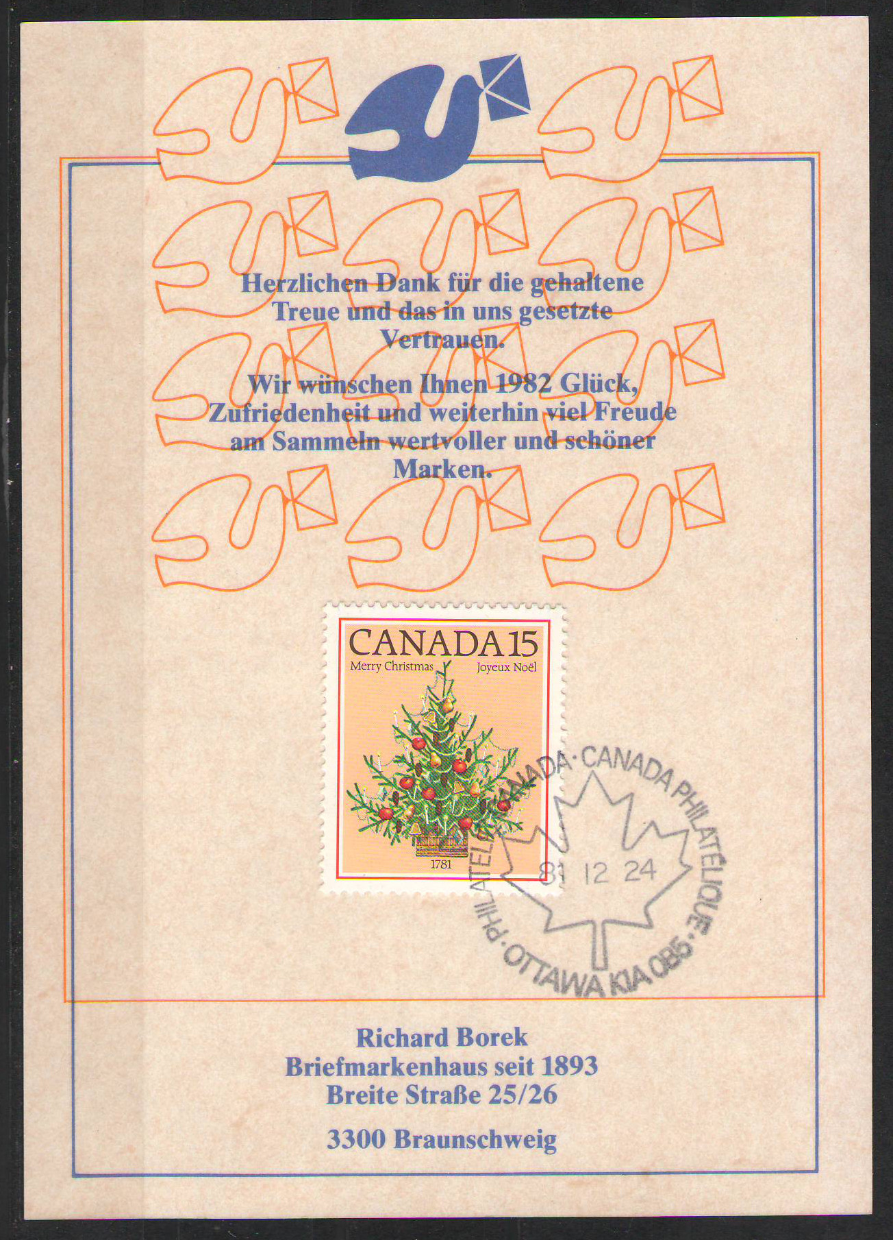 Canada - 1981 Christmas 15c Stamp with Canada Philatelique cds on a Richard Borek Christmas Card