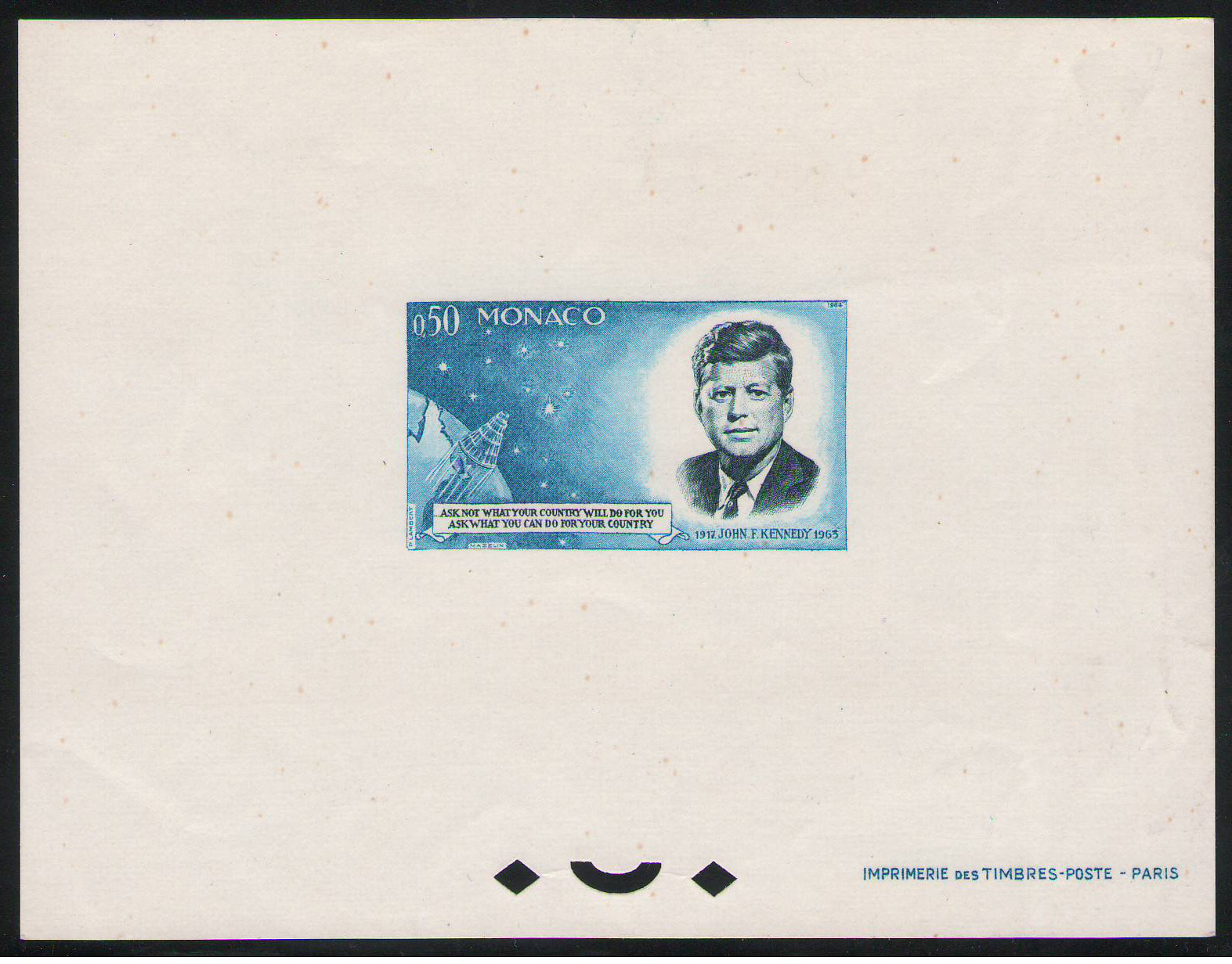 1964 Special Block (#8a) issued for John Kennedy - no gum. Yvert Tellier Catalogue €500
